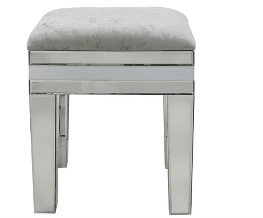 White Seattle Mirror Stool - Mirrored furniture - Sparkle Diamond - House of Sparkles