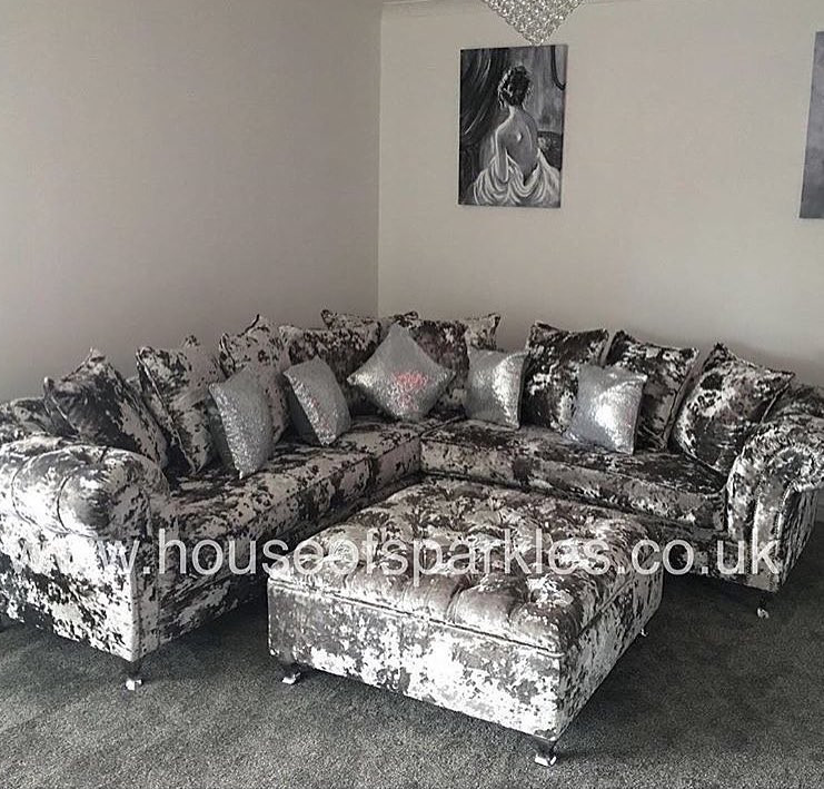 3 x 3 Exclusive Footstool - Mirrored furniture - Sparkle Diamond - House of Sparkles
