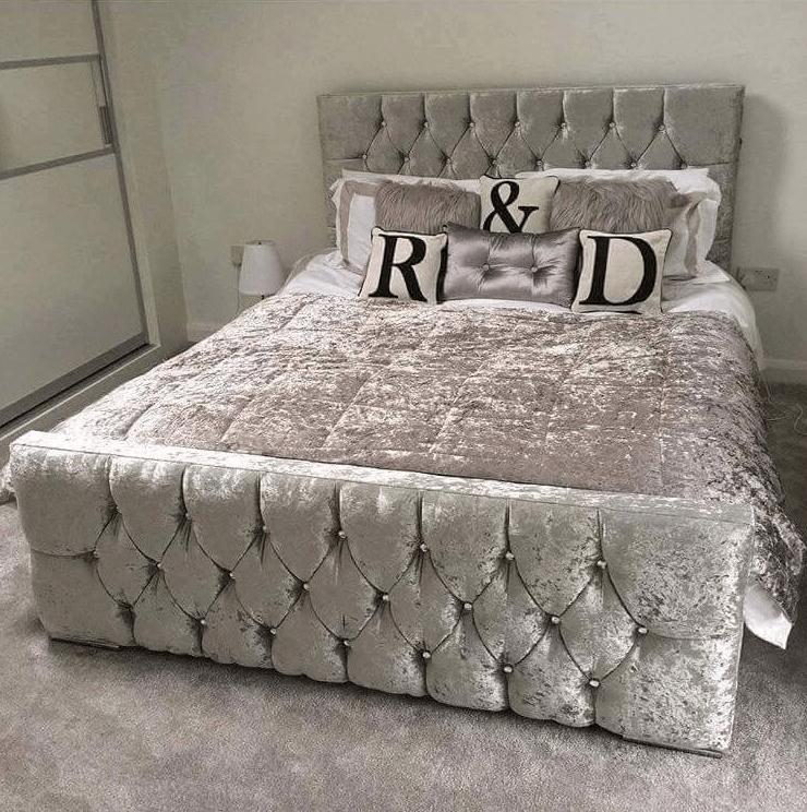 Monaco Crushed Velvet Bed   Mirrored Furniture   Sparkle Diamond   House Of  Sparkles ...