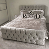 Monaco Crushed Velvet Bed - Mirrored furniture - Sparkle Diamond - House of Sparkles