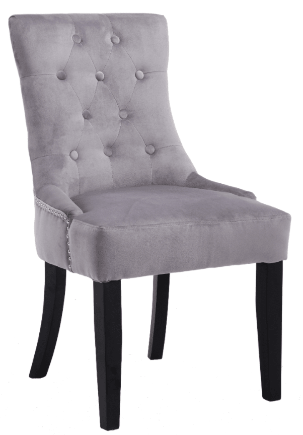 Lion Dining Chair Smooth Velvet Silver - Mirrored furniture - Sparkle Diamond - House of Sparkles