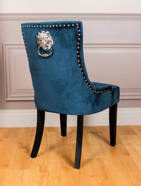 PRE ORDER - Lion Dining Chair Royal Blue (Box of 2 Chairs)