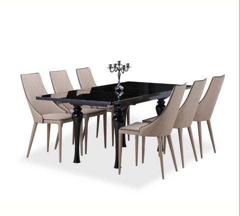 Empire Black High Gloss Extending Dining Table