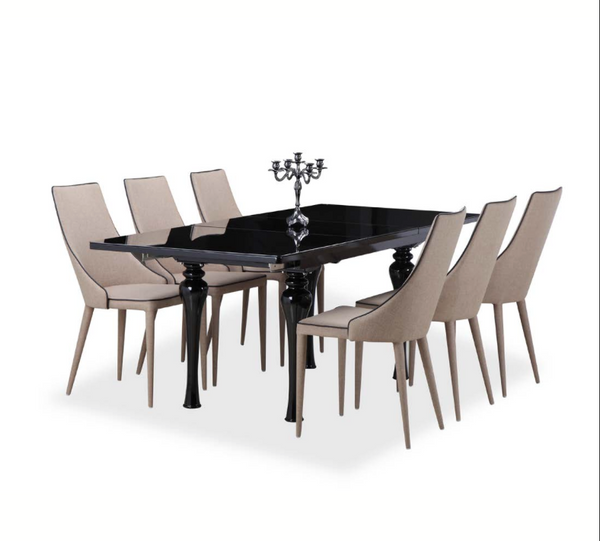 Empire Black High Gloss Extending Dining Table House Of