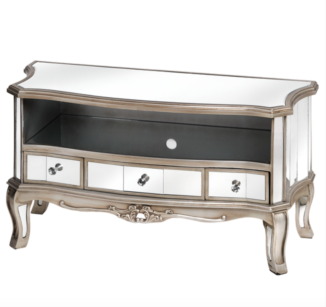Argente Antique Mirrored Television Cabinet - Mirrored furniture - Sparkle Diamond - House of Sparkles