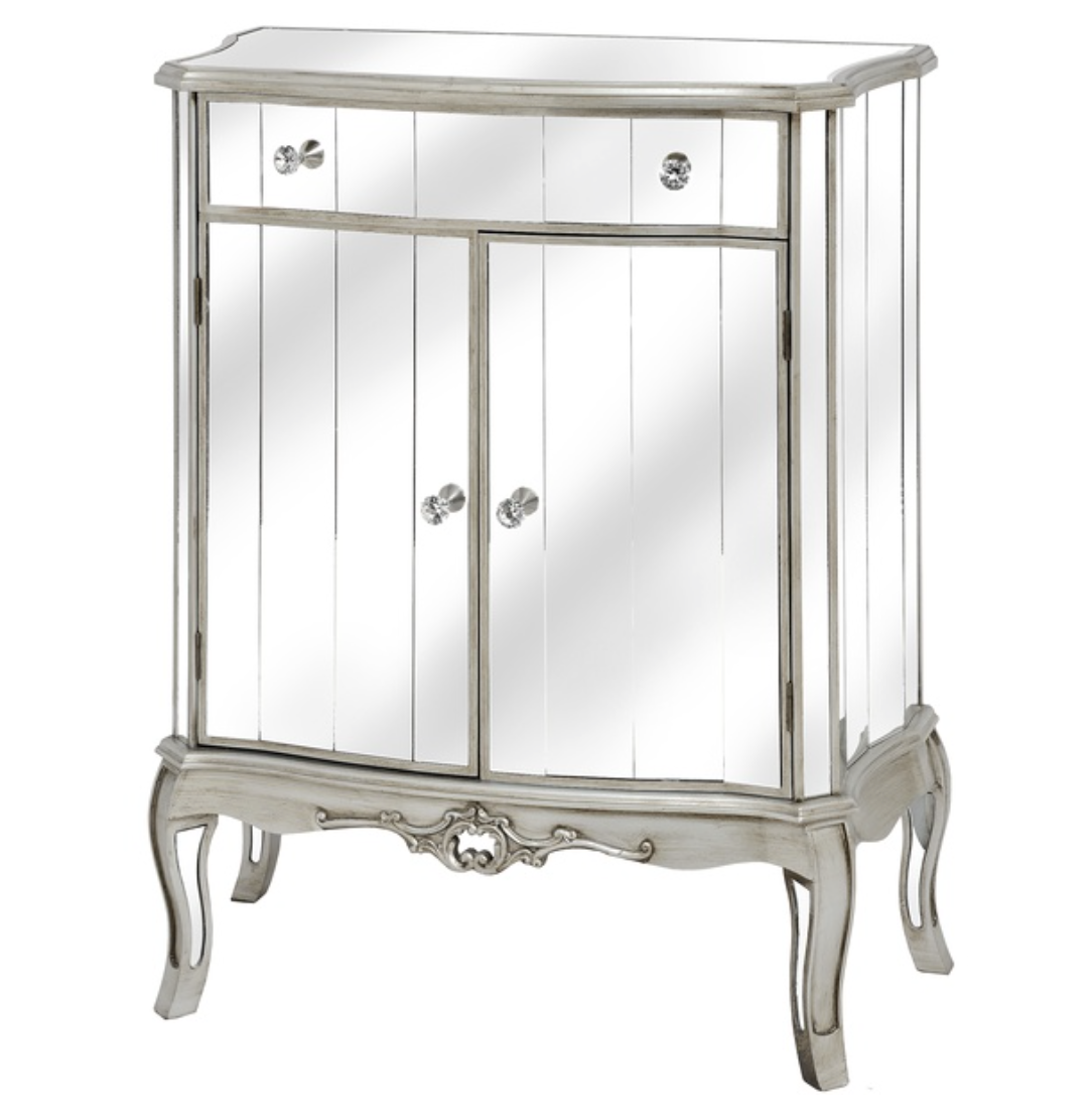 Argente Antique Mirrored One Drawer Two Door Cabinet - Mirrored furniture - Sparkle Diamond - House of Sparkles