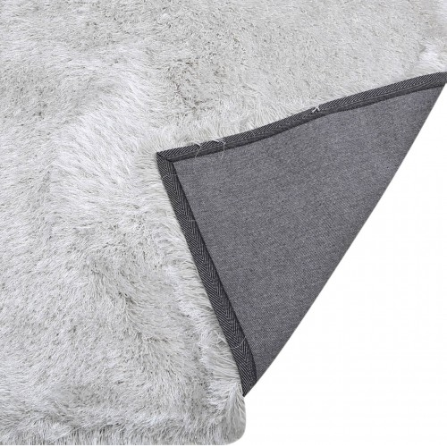 Large White and Silver Deluxe Shaggy Rug