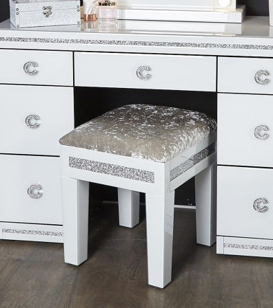 Cleo White Mirror Stool - Mirrored furniture - Sparkle Diamond - House of Sparkles