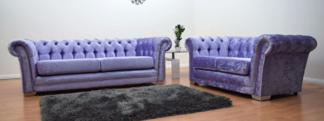 Anna Chesterfield 3 and 2 Seater Sofa in Lavender Velvet - Mirrored furniture - Sparkle Diamond - House of Sparkles