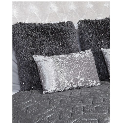 Silver Crushed Velvet Rectangular Cushion
