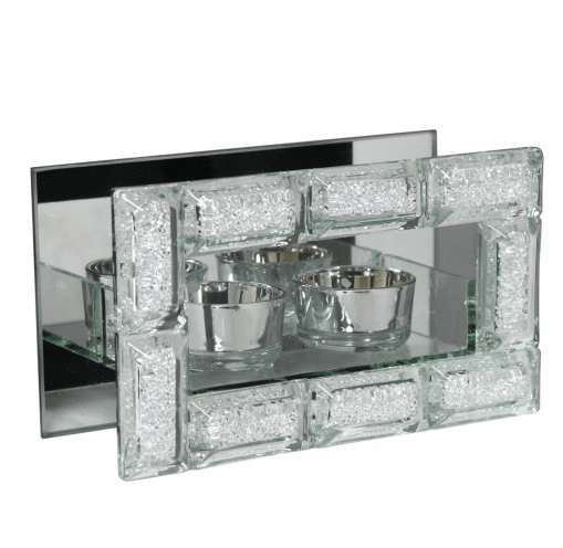 Mirror Crystal Block Double Tealight Holder - Mirrored furniture - Sparkle Diamond - House of Sparkles