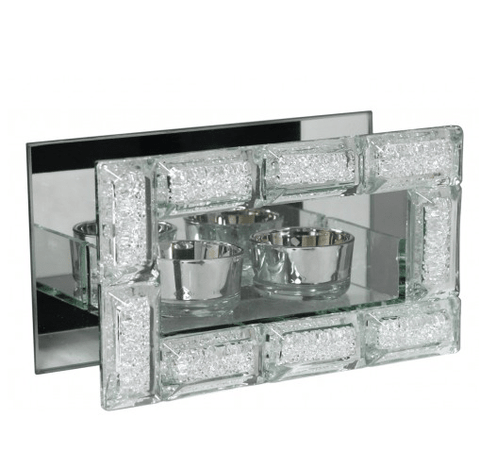 Image of Mirror Crystal Block Double Tealight Holder - Mirrored furniture - Sparkle Diamond - House of Sparkles