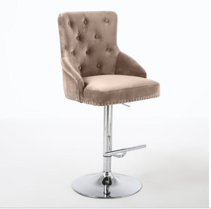 NEW - Mink leona bar stool with metal base