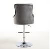 NEW - Leona Silver crushed velvet bar stool with metal base