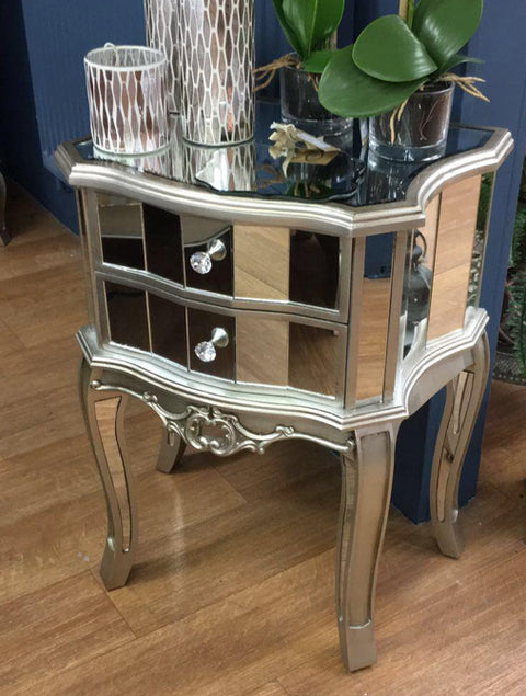 Antique Mirrored Two Drawer Bedside Table - Mirrored furniture - Sparkle Diamond - House of Sparkles