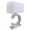 Sparkle Diamond Mirror 'C' Table Lamp With 19 Inch White Faux Silk Shade