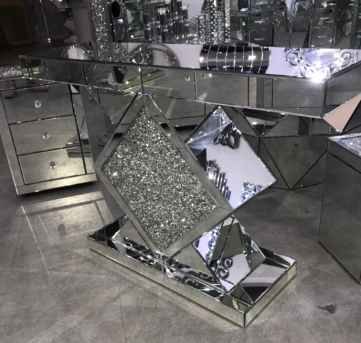 Diamond Crush Diamond Mirrored Console Table | HOS Home | Mirrored furniture | Affordable Luxury