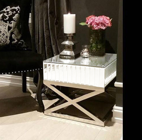 The Gatsby White Mirror Side Table