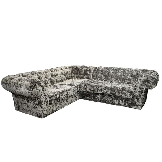Anna Chesterfield Corner Sofa in Double Crush Silver | HOS Home | Mirrored furniture | Affordable Luxury