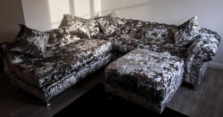 The Diana Crushed Velvet Corner Suite - Mirrored furniture - Sparkle Diamond - House of Sparkles