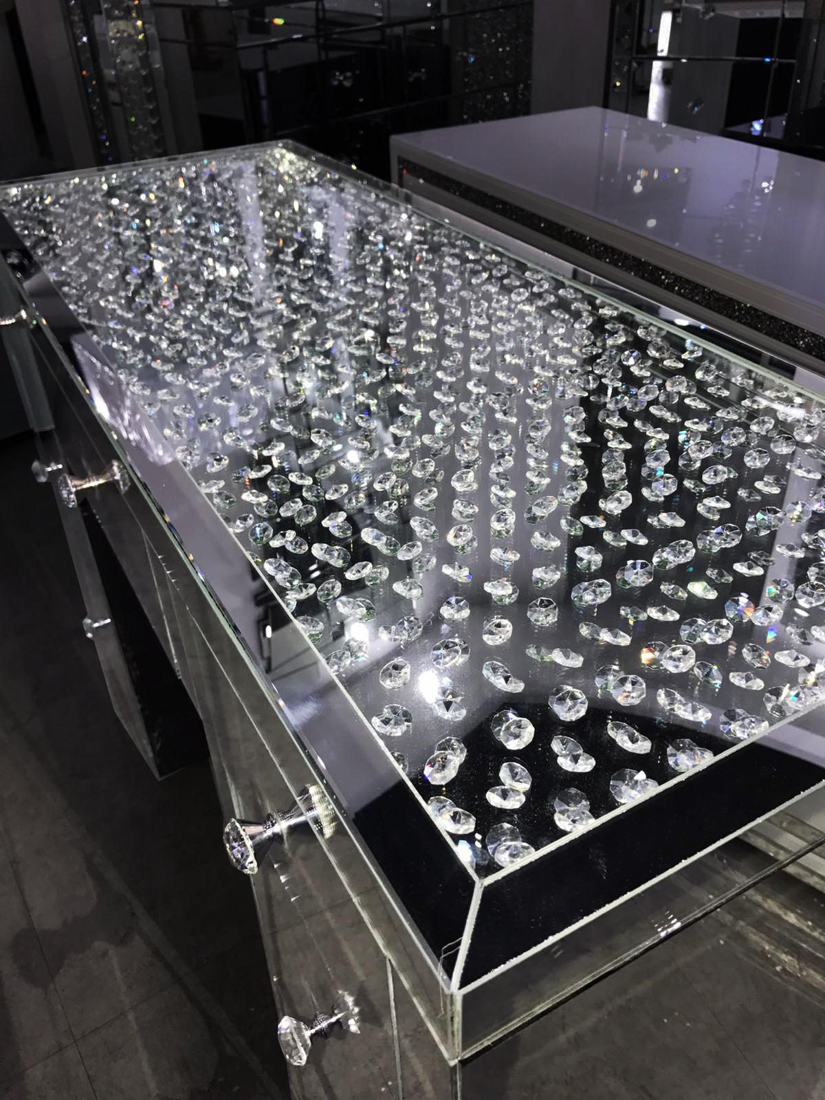 Floating Crystal on Top 7 Drawer Dressing Table - Mirrored furniture - Sparkle Diamond - House of Sparkles