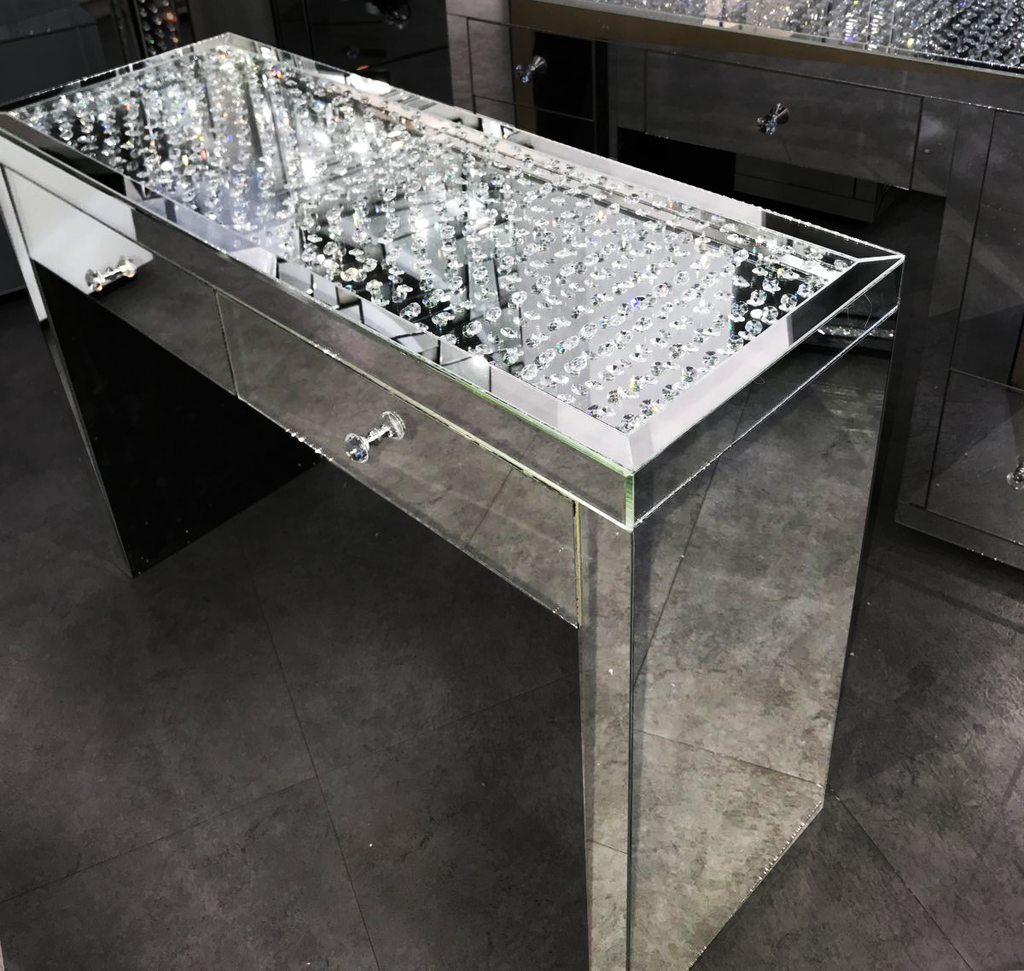 Floating Crystal on Top - 2 Drawer Dressing Table - Mirrored furniture - Sparkle Diamond - House of Sparkles