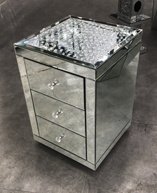 Floating Crystal on top 3 Drawer bedside - Mirrored furniture - Sparkle Diamond - House of Sparkles
