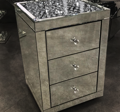 Floating Crystal on top 3 Drawer Bedside Table-PRE ORDER FOR JANUARY 2019