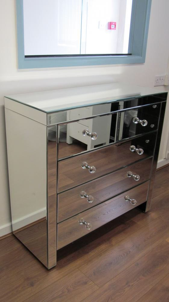 Classic Mirror 5 Drawer Chest of Drawers - Mirrored furniture - Sparkle Diamond - House of Sparkles