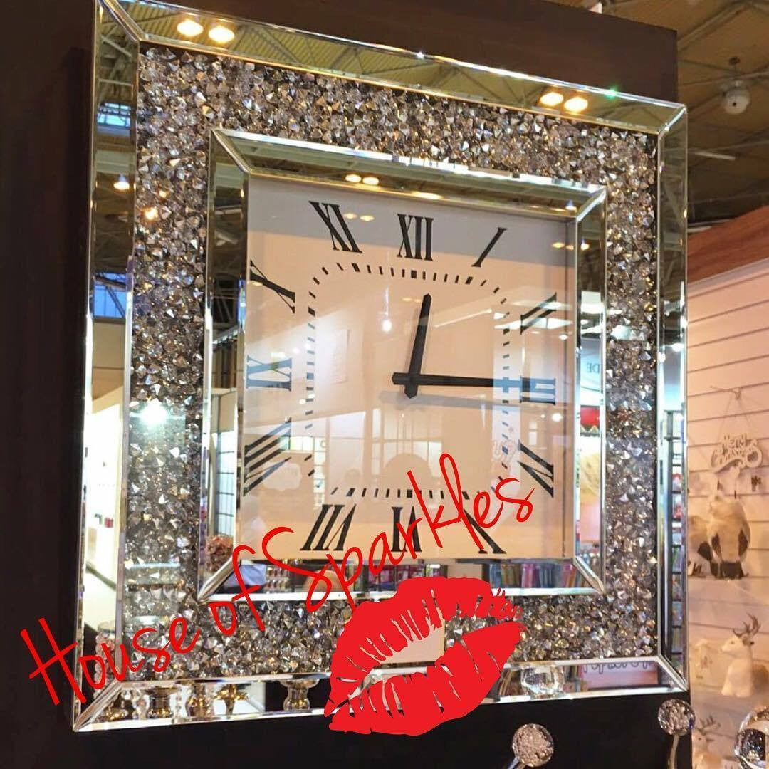 Diamond Crushed Wall Clock House Of Sparkles
