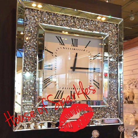 Diamond Crushed Wall Clock - Mirrored furniture - Sparkle Diamond - House of Sparkles
