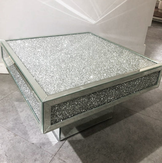 Diamond Crush Plaza Mirrored Coffee Table | HOS Home | Mirrored furniture | Affordable Luxury