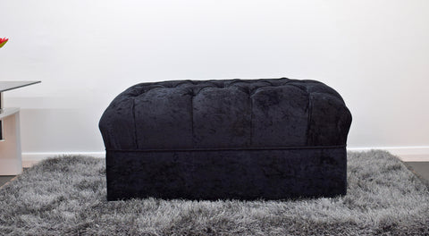 Crushed Velvet Footstool in Black - Mirrored furniture - Sparkle Diamond - House of Sparkles