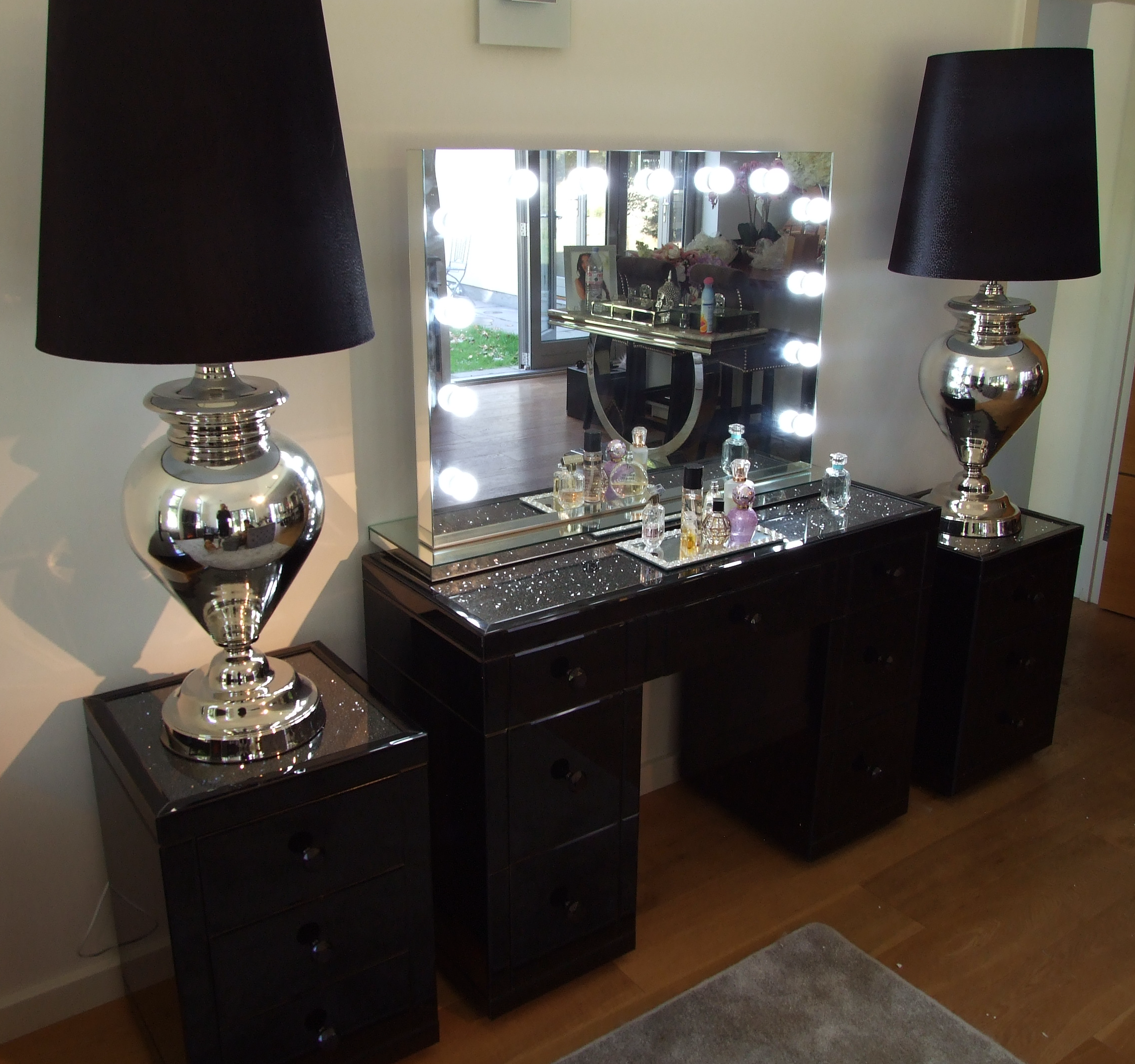 Black Mirror Crush 3 Drawer Bedside - Mirrored furniture - Sparkle Diamond - House of Sparkles