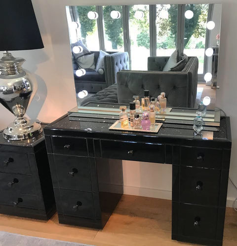 Black Mirror Crush 7 Drawer Dressing Table - Mirrored furniture - Sparkle Diamond - House of Sparkles