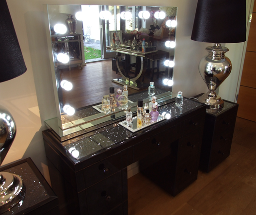 Black Mirror Crush 7 Drawer Mirrored Dressing Table | HOS Home | Mirrored furniture | Affordable Luxury