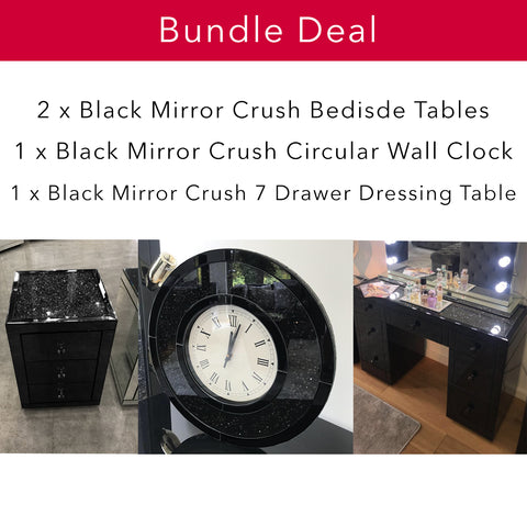 Black Mirror Crush Bedroom Bundle - Mirrored furniture - Sparkle Diamond - House of Sparkles
