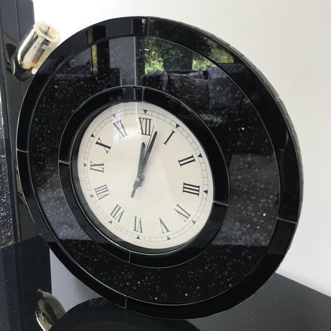 Black Mirror Crush Circular Wall Clock - Mirrored furniture - Sparkle Diamond - House of Sparkles