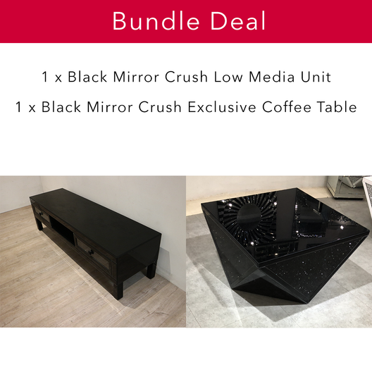 Black Mirror Crush Statement Living Bundle | HOS Home | Mirrored furniture | Affordable Luxury