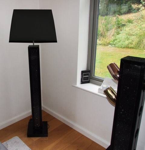 Black Mirror Crush Floor Lamp with 22inch Black Shade - Mirrored furniture - Sparkle Diamond - House of Sparkles