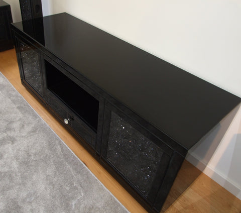 Black Mirror Crush Media Unit Large - Mirrored furniture - Sparkle Diamond - House of Sparkles