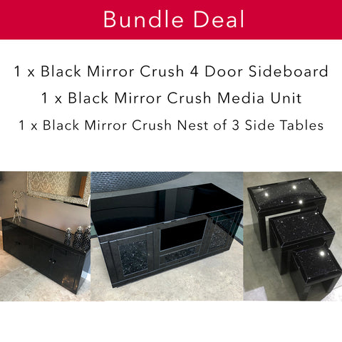 Black Mirror Crush Living Bundle - Mirrored furniture - Sparkle Diamond - House of Sparkles