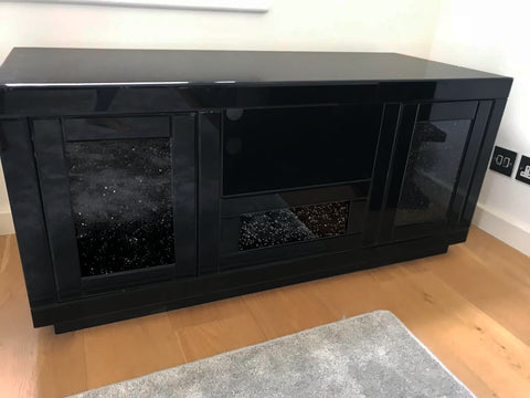 Black Mirror Crush Media Unit - Mirrored furniture - Sparkle Diamond - House of Sparkles
