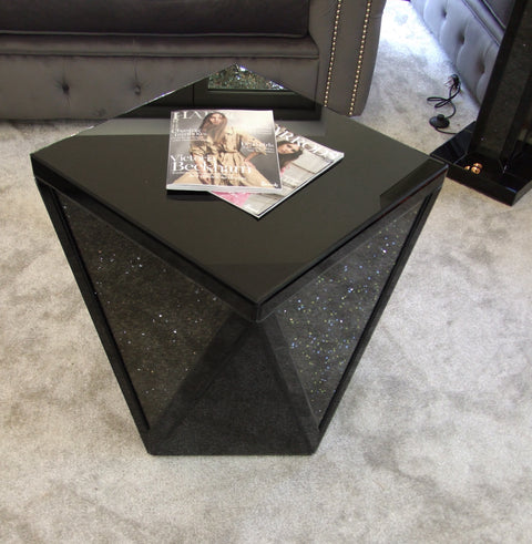 Black Mirror Crush V Side Table - Mirrored furniture - Sparkle Diamond - House of Sparkles