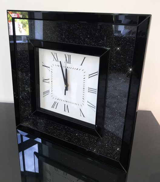 Black Mirror Crush Mirrored Wall Clock | HOS Home | Mirrored furniture | Affordable Luxury