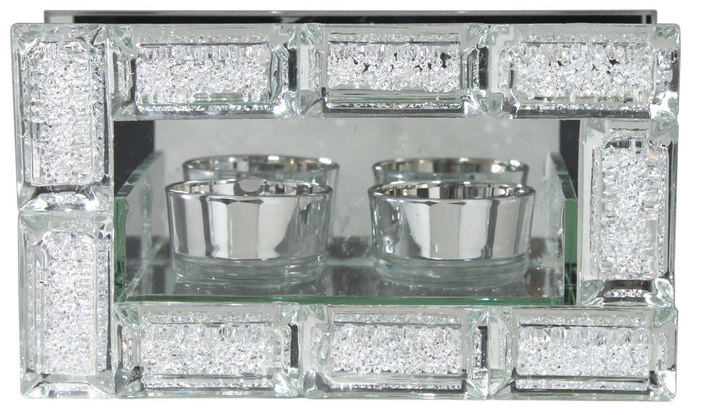 Mirror Crystal Block Double Tealight Holder