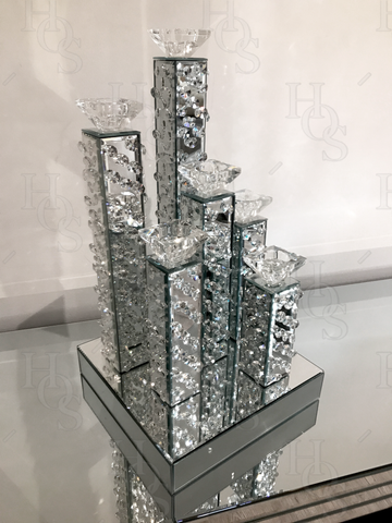 Image of Floating Crystal 6 Piece Candelabra - Mirrored furniture - Sparkle Diamond - House of Sparkles