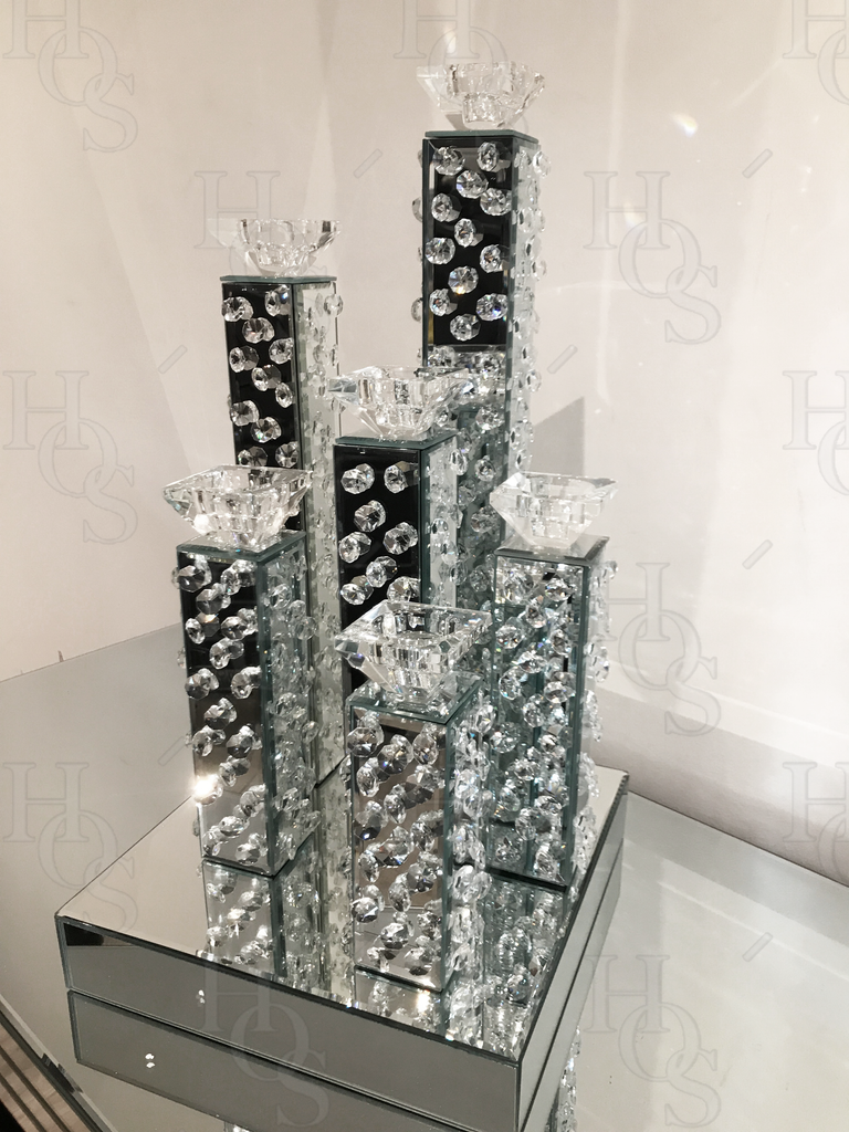 Floating Crystal 6 Piece Candelabra - Mirrored furniture - Sparkle Diamond - House of Sparkles
