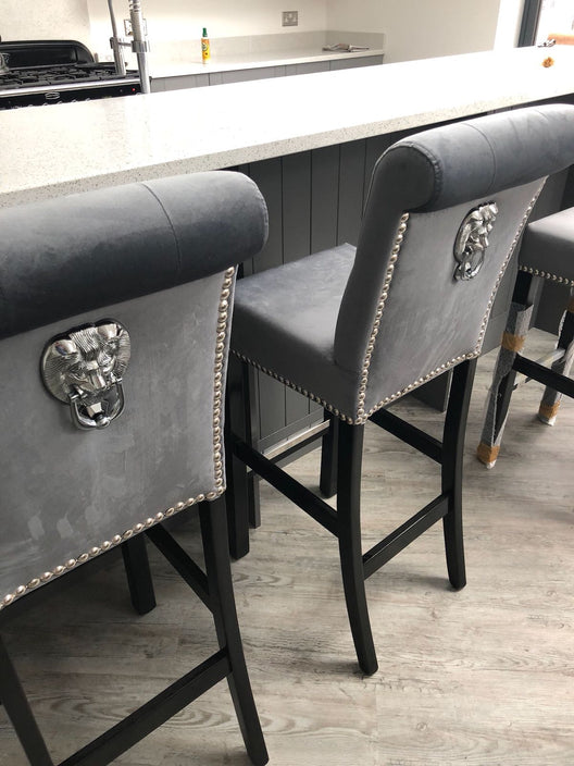 Crushed Velvet Scroll Top Barstools | HOS Home | Mirrored furniture | Affordable Luxury