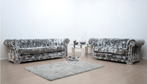 Anna Chesterfield 3 and 2 Seater Sofa in Silver Double Crush Velvet - Mirrored furniture - Sparkle Diamond - House of Sparkles
